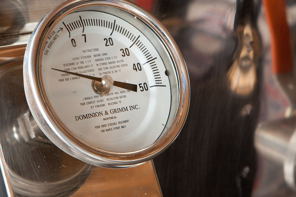 The evaporator's temperature gauge, because boiling temperature is critical to the process