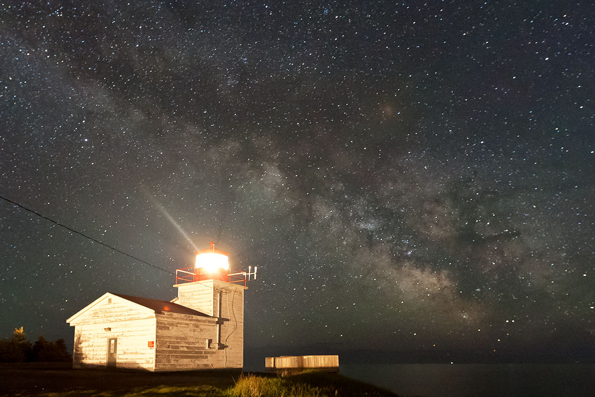 The Port Bickerton lighthouse under the Milky Way